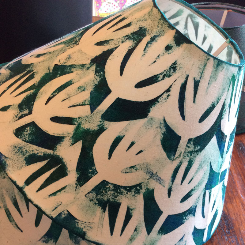 Green Leaves Handprinted Lampshade