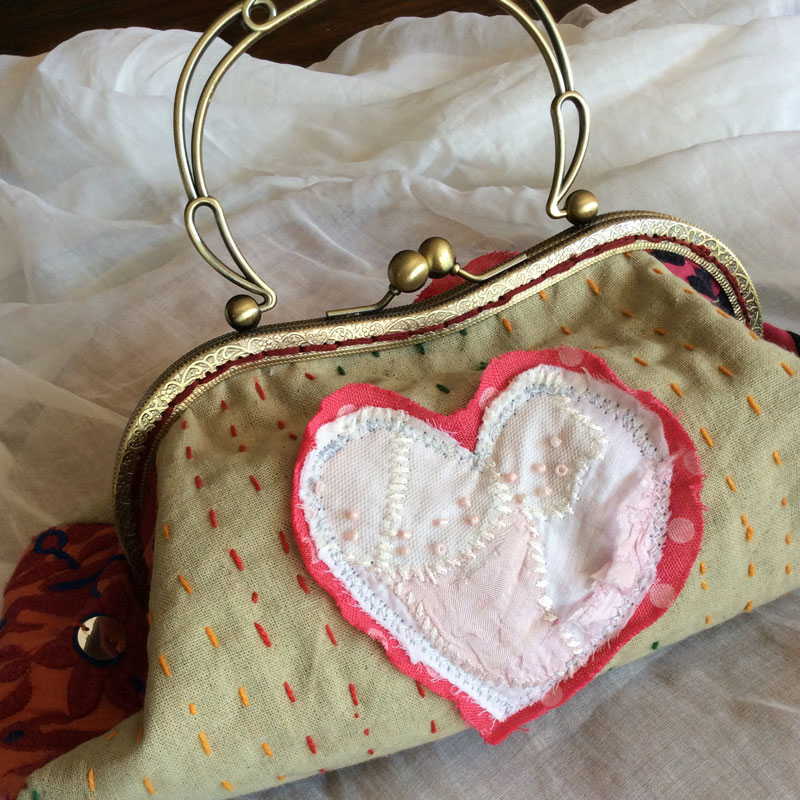 Heart Antique Lace Evening Bag