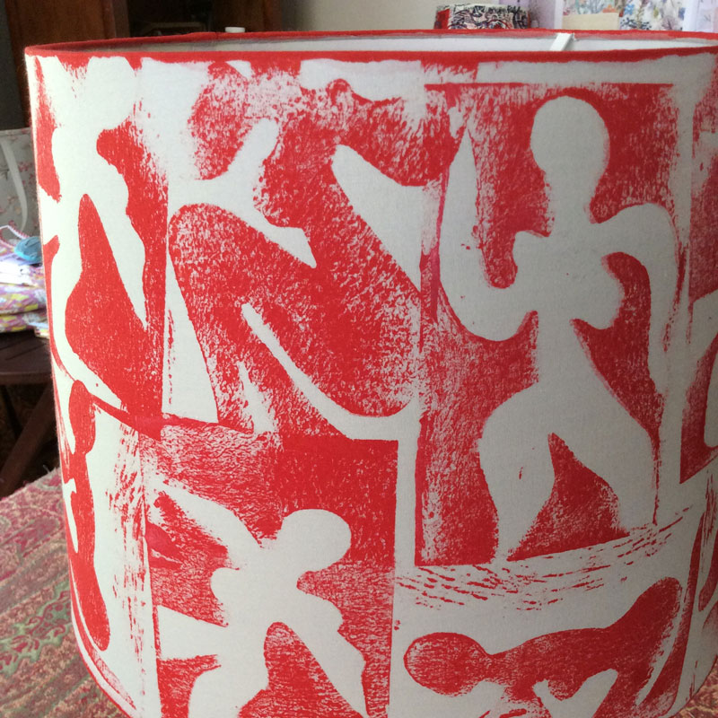 Red Figures Handprinted Lampshade